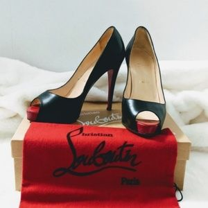 Louboutin Very Prive 110mm Peep Toe Pumps 37.5
